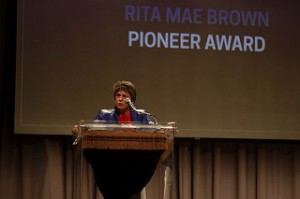 Rita Mae Brown accepts the Pioneer Award